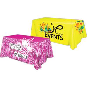 4 Sided Polyester Flat Table Cover Full Color